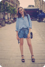 Navy-h-m-shirt-navy-takko-shorts-mustard-meli-melo-necklace