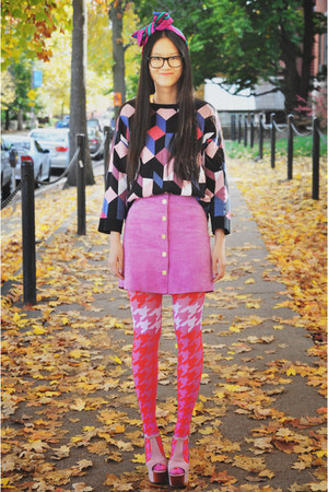 vintage skirt - geometric cube asos sweater - House of Holland tights