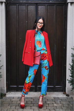 blouse - blazer - pants - wedges