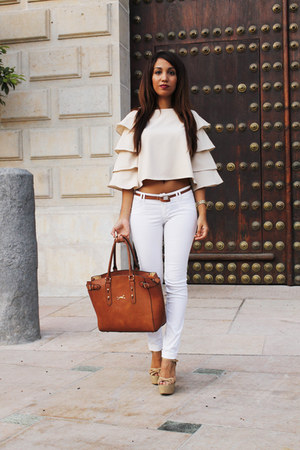 beige blouse Sheinside top