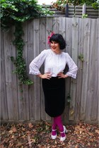 Vintage Thrifted skirt - Myer tights - Vintage Thrifted blouse - Wittner pumps