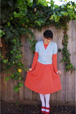 Etsy dress - vintage blue thrifted cardigan - Novo heels