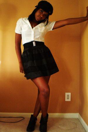 black wild diva boots - black Forever 21 skirt - white Forever 21 blouse - black