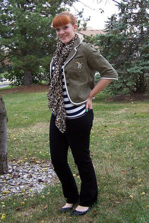 brown H&M scarf - black Old Navy pants - white Forever 21 shirt - green thrifted