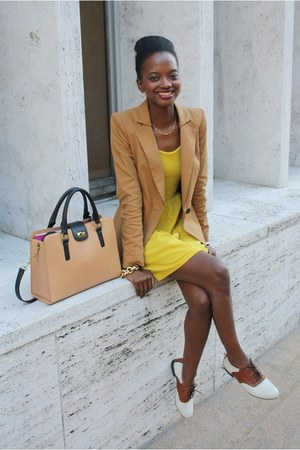 yellow asos dress - camel Juicy Couture blazer - camel JCrew bag