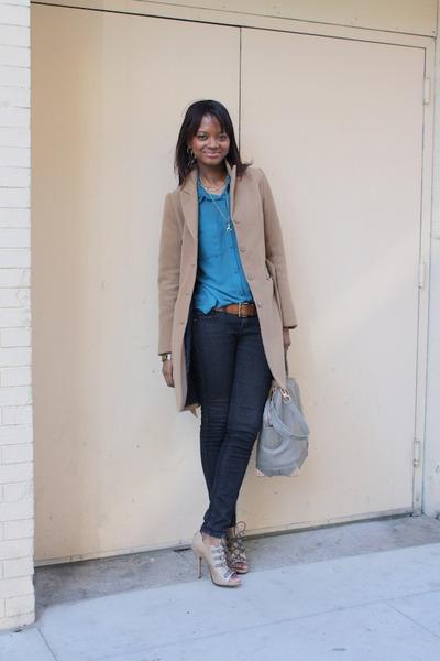 tan Jean Michel Cazabat heels - tan H&M coat