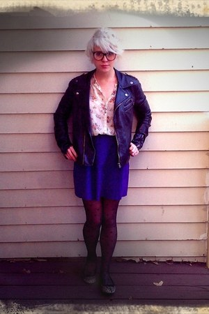 Macys jacket - Forever 21 stockings - thrifted vintage skirt - Forever 21 blouse