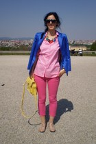 blue vintage blazer - bubble gum H&M shirt - yellow New Yorker bag - hot pink Za