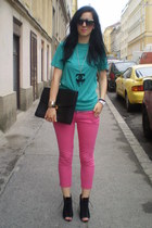 H&M t-shirt - Zara pants - Pimkie wedges - Ringeraja necklace
