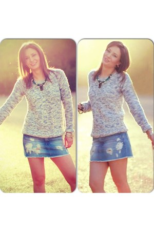 Stradivarius sweater - Pimkie boots - Zara bag - Stradivarius skirt