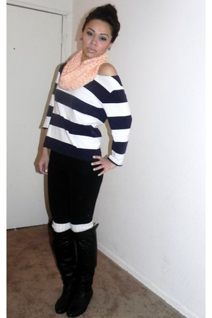 navy thifted top - cream abercrombie and fitch accessories - peach DIY scarf