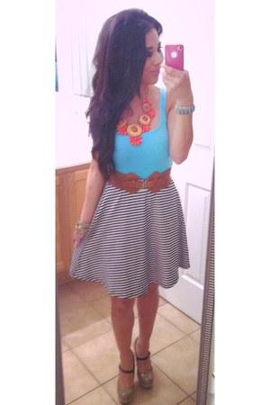 orange beaded necklace - cotton shirt - cotton blouse