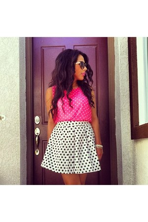 hot pink Forever21 top - white Forever21 skirt