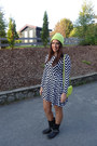 Black-missguided-dress-lime-green-asos-hat