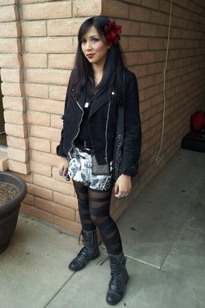 black skirt - charcoal gray combat boots boots - black tripp jacket