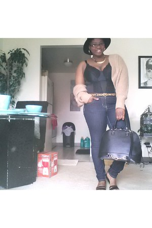 blue torrid jeans - black JustFab bag - gold Target belt
