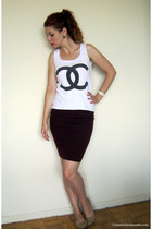 2dayslookcom top - Ardene flats - Forever 21 skirt - black Smart Set earrings