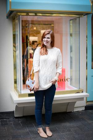 white Zara sweater - navy Urban Outfitters jeans - white Aldo purse