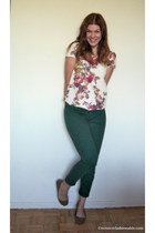ivory Zara top - forest green Joe Fresh jeans - brown Ardene flats