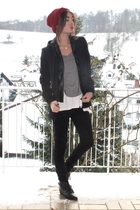 black Zara blazer - Deena&Ozzy shoes - red eek beanie from UO hat