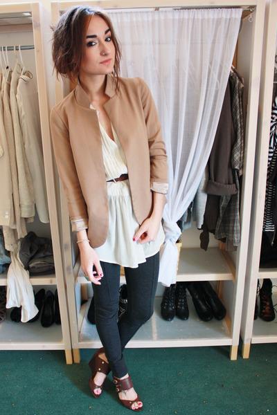 gray Zara leggings - Silence&Noise blazer - Zara blouse - Nine West shoes