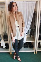 gray Zara leggings - Silence&Noise blazer - Zara blouse - Nine West shoes