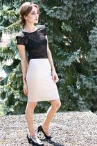 black Zara top - beige Zara skirt