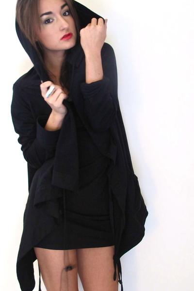 black jacket - black Divided dress - black harley boots