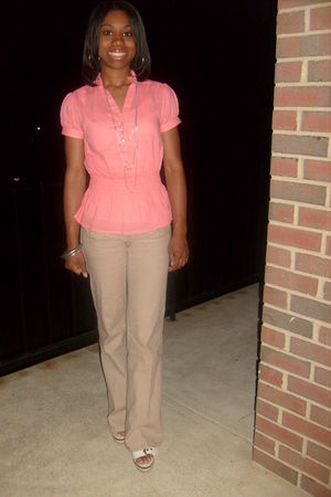beige Wet Seal pants - white payless shoes - pink unknown blouse