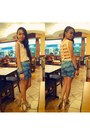 Turquoise-blue-self-made-shorts-beige-caged-celine-heels-cream-self-made-top