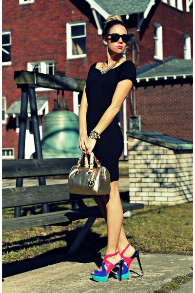 black BCBG dress - camel Michael Kors bag - hot pink Jessica Simpson heels