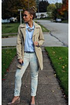 sky blue American Eagle jeans - beige franco sarto wedges