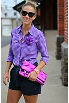 deep purple lulus shirt - magenta Steve Madden bag - navy ae shorts