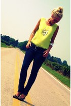 lime green thrifted top - black PacSun jeans