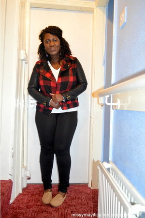 brick red plaid Primark jacket - brown Primark shoes - black Primark leggings