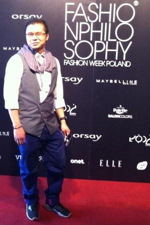 white shirt - black sneakers - deep purple pants - charcoal gray vest