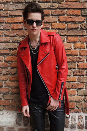 red leather Ebay jacket - leather Ebay pants - Self Designed necklace