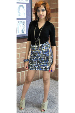 black Forever 21 shirt - blue Forever 21 skirt - gold Charlotte Russe necklace -