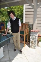 black Devon & Jones vest - brown suede pumas shoes - white H&M shirt