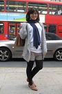 Gray-oasis-cardigan-white-h-m-shirt-blue-zara-scarf-gray-zara-shorts-bla