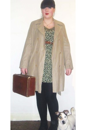 green asos dress - Fashion World boots - beige biege mac St Michaels coat