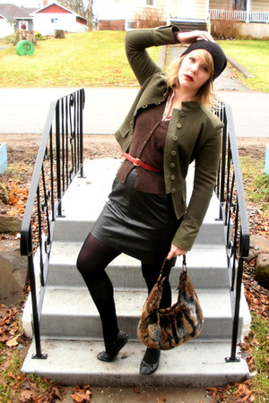 eggshell second hand blouse - dark brown H&M cardigan - black vintage skirt - ru