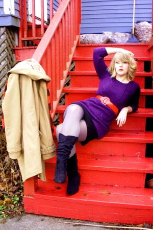 purple random brand dress - red vintage belt - black BCBG dress - camel Old Navy