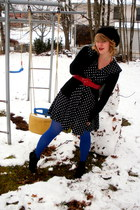 black le chateau dress - red vintage belt - black Suzy Shier cardigan - blue Wal