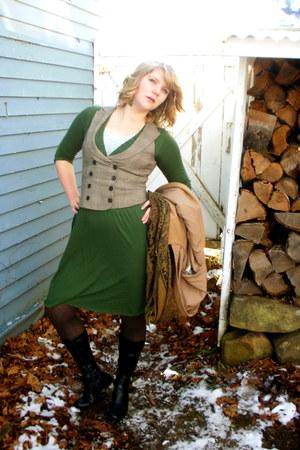 green JCrew dress - light brown second hand vest - brown gift scarf - light blue