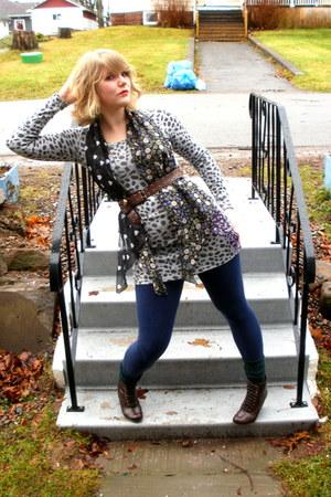 heather gray from japan dress - blue Ardene leggings - black second hand scarf -