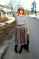 army green thrifted jacket - cream joe fresh style top - navy vintage skirt - bl