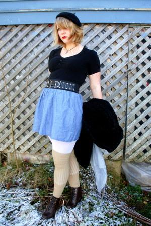 black Suzy Shier shirt - sky blue random brand skirt - white H&M leggings - came