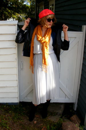 gray vintage dress - pink H&M hat - blue le chateau cardigan - gold Ardene scarf