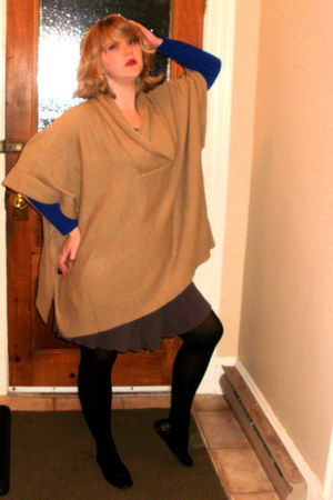 camel H&M sweater - blue Forever 21 sweater - puce vintage skirt - black Walmart